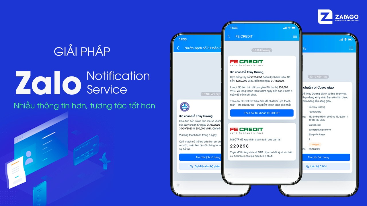 Ra mắt giải pháp Zalo Notification Service (ZNS) hứa hẹn thay thế SMS